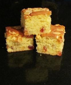 Kim's almond & cherry tray bake
